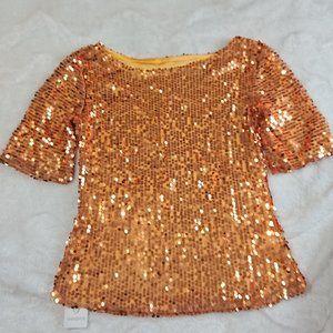 NWT Super shiny, super sexy blouse. Gold/Orange